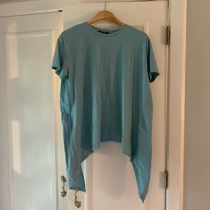 Zara light teal t shirt with ruffle back. SzS